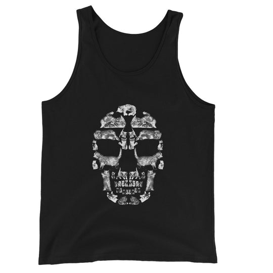 Kitten Skull White Unisex Jersey Tank Top Tank Top kite.ly S Black