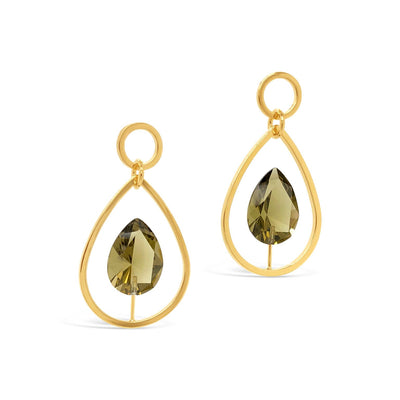 Trent Faceted Pear Stone Drop Earrings