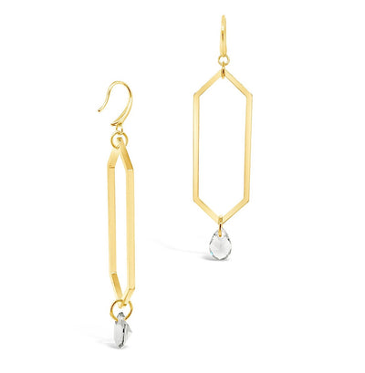 Fletcher Long Geometric Quartz Drop Earrings