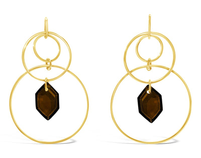 Hudson Triple Hoop Mega Gem Drop Earrings