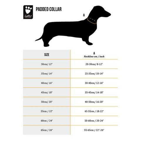 Hurtta Padded Dog Collar Size Chart