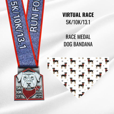 Virtual Race_Run for Pups_medal and dog bandana