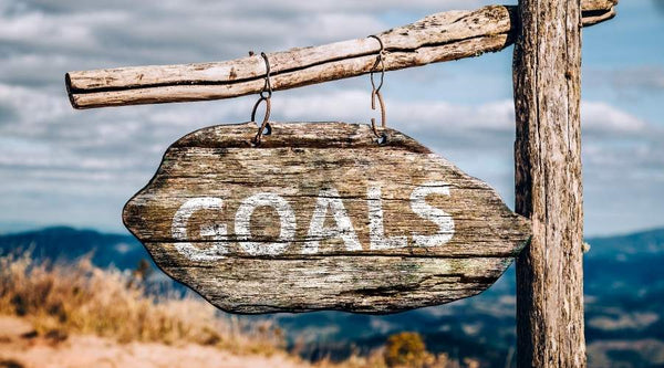 wood sign with writing that says goals