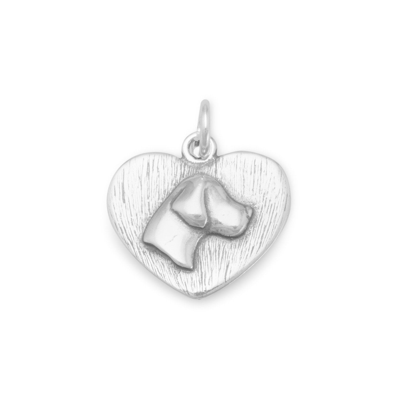 Sterling Silver Dog head Silhouette on heart shaped charm