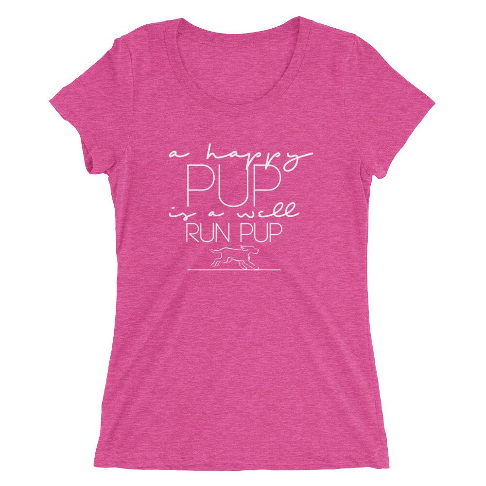 "Ladies ""Happy Pup"" Pink T-shirt"