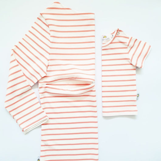 Twinning Sets - Mumma Nursing Top - Ecru/Coral - Chico Jack's - Mother and baby matching outfits
