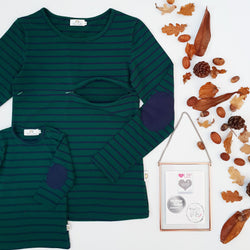 Twinning Sets - Mumma Nursing Top - Forest Green/Navy & Navy Pads - Chico Jack's - Mother and baby matching outfits