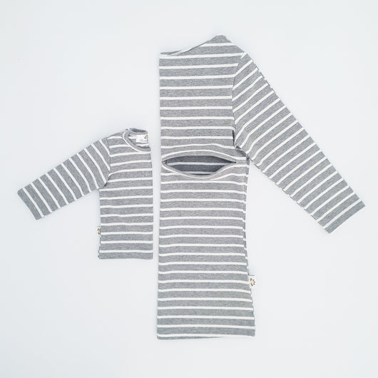 Twinning Sets - Mumma Nursing Top - Grey/White - Chico Jack's - Mother and baby matching outfits