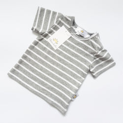 Twinning Sets - Short Sleeve Baby Tops - Grey/White - Chico Jack's - Mother and baby matching outfits