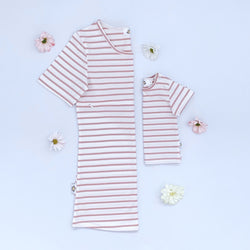 Twinning Sets - Mumma Short Sleeve Breastfeeding Tops - Ecru/Dusky Rose