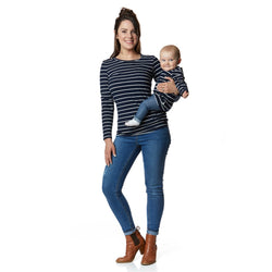 Twinning Sets - Mumma Breastfeeding Tops - Navy/White & Grey Pads