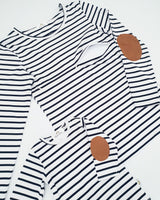 Twinning Sets - Short Sleeve Baby Tops - White/Navy