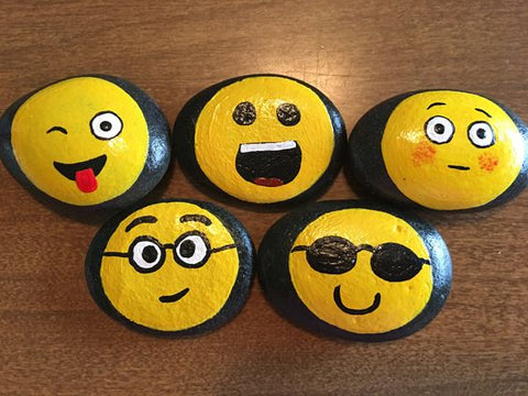 Emoji painted rocks Lilly's Love