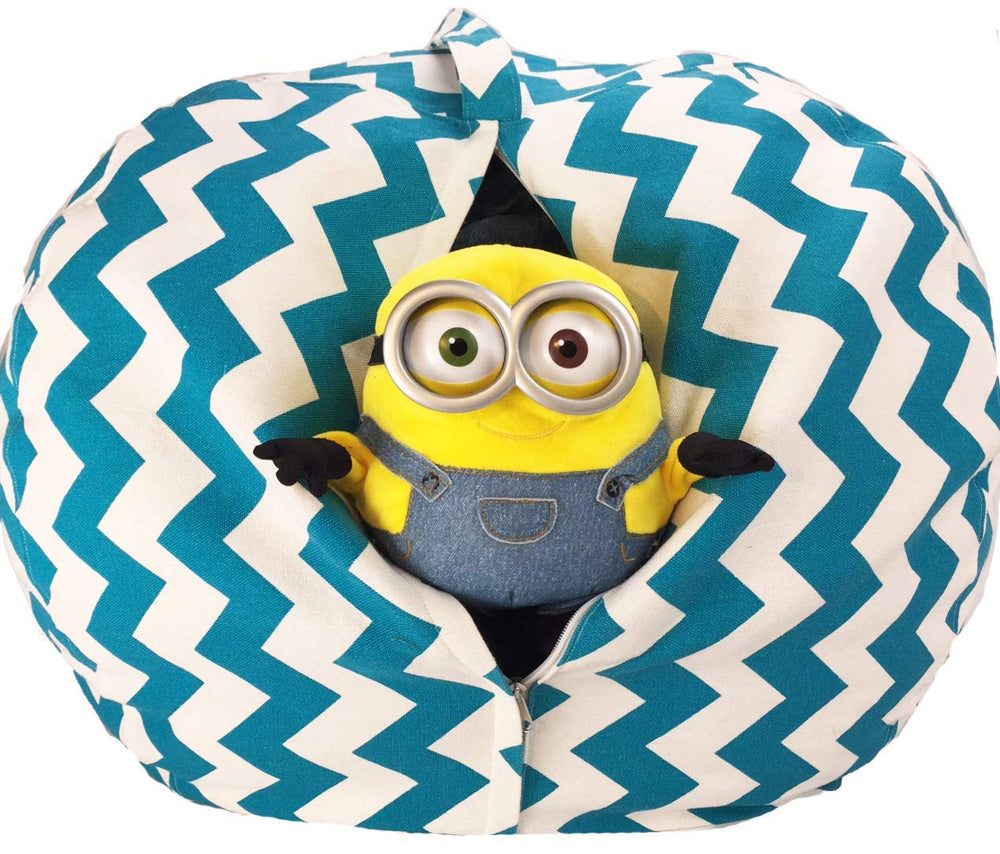 Stuffed Animal Storage Chair - Trendy Chevron in Teal