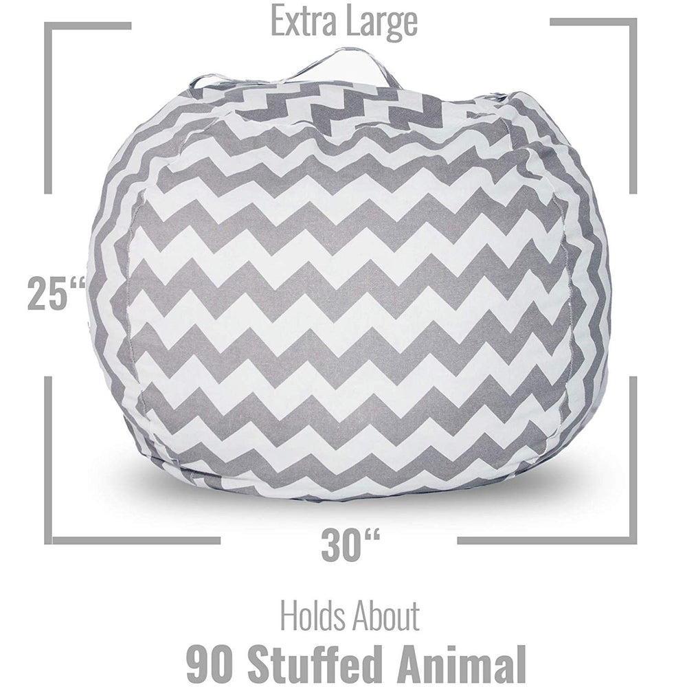 Stuffed Animal Storage Chair - Trendy Chevron in Gray