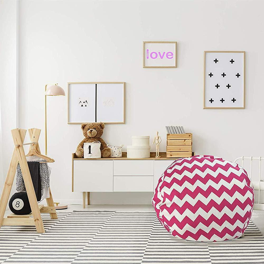 Stuffed Animal Storage Chair - Trendy Chevron in Pink