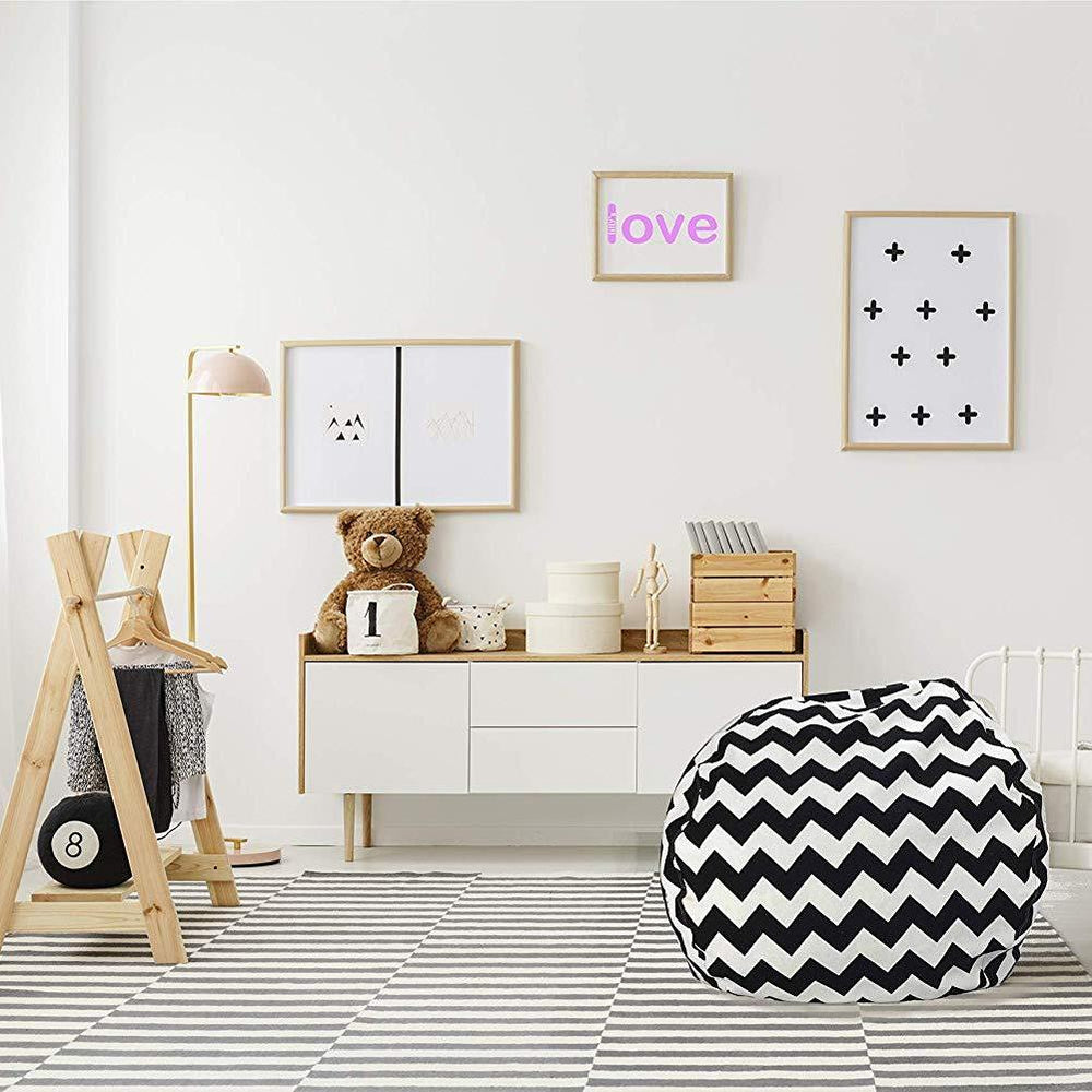 Stuffed Animal Storage Chair - Trendy Chevron in Black