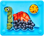 Silicone Placemat, eating plate for children the 'Dino Pad' in Blue