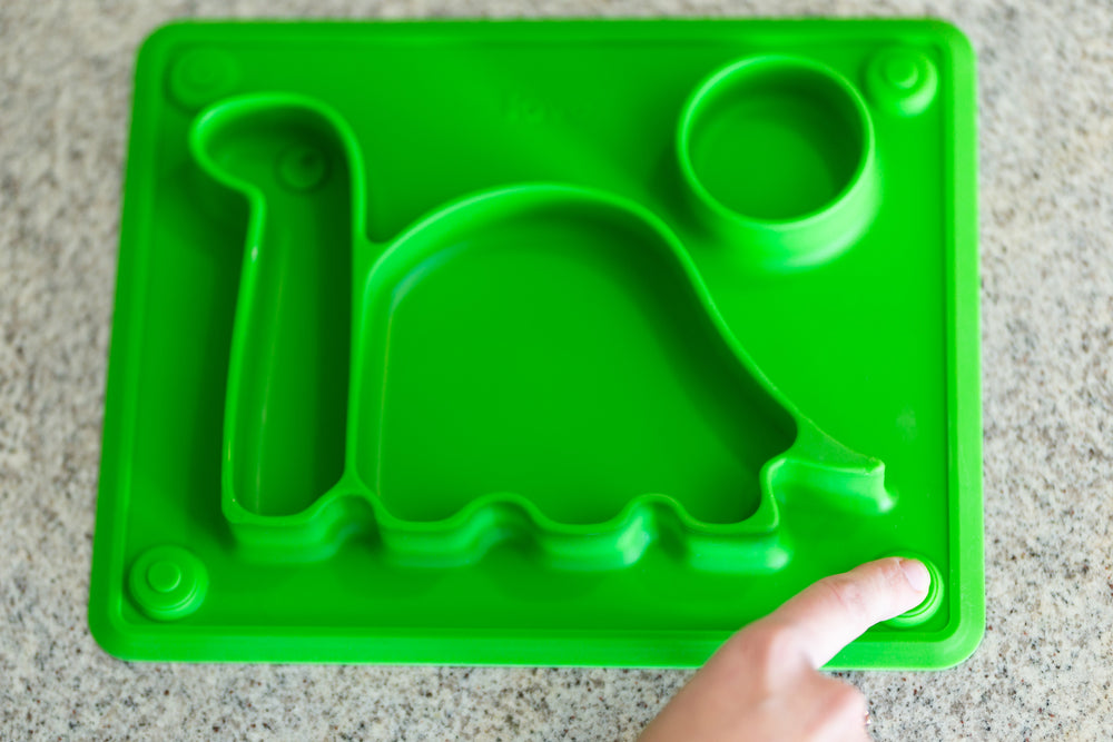 Silicone Placemat, eating plate for children the 'Dino Pad' in Green