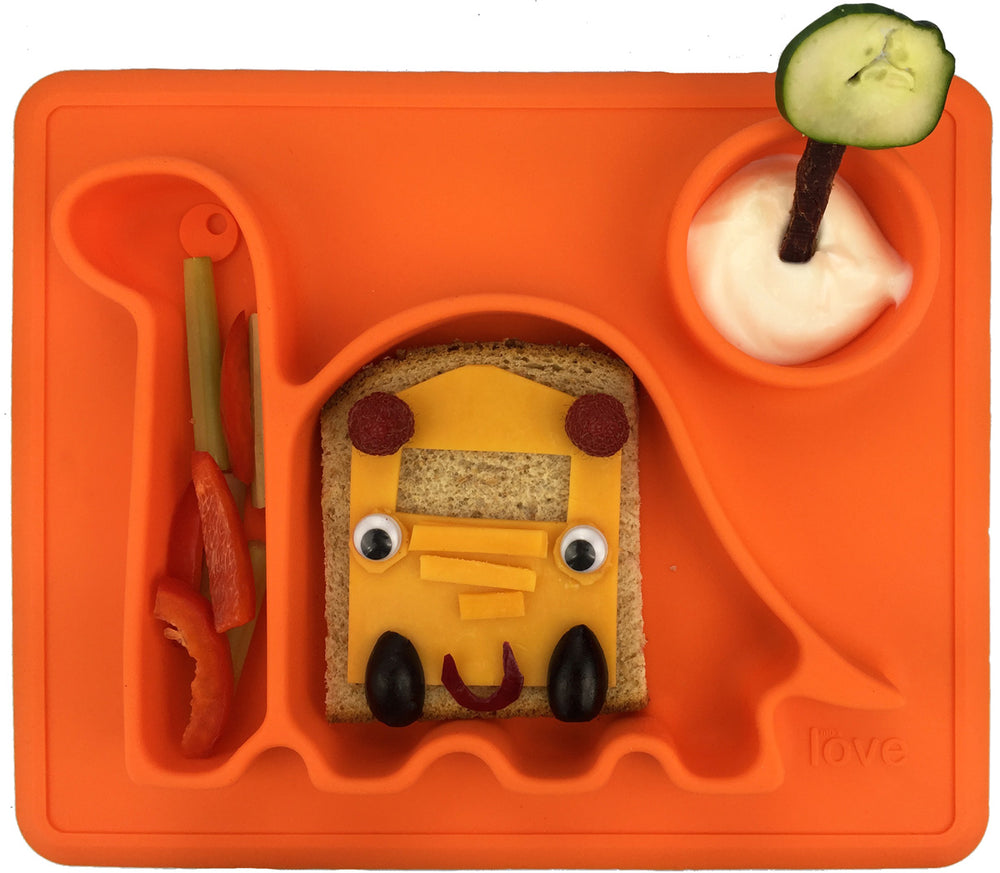 Silicone Placemat, eating plate for children the 'Dino Pad' in Orange