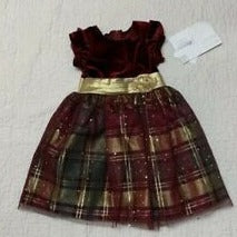 Plaid Velvet Festive Dress