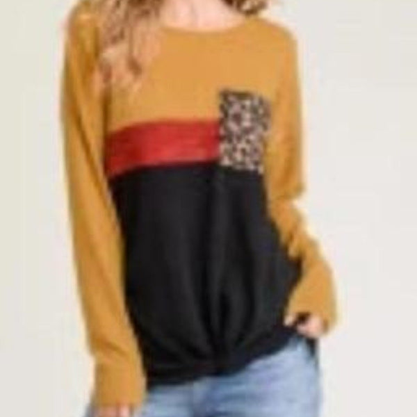 Long Sleeve Multi-Colored Top with Pocket