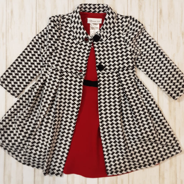 Houndstoooth Coat and  Red Dress