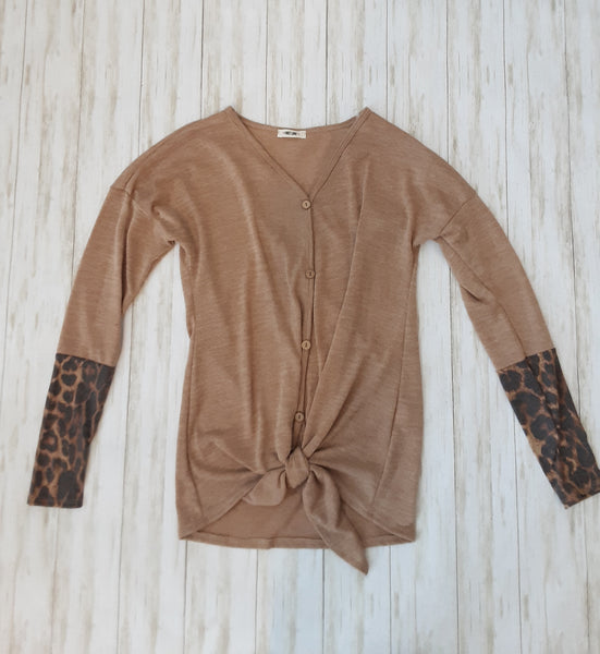 Tie Front V-Neck Top with Leopard Sleeves