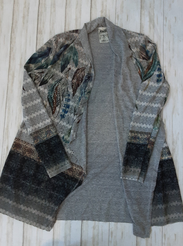 Long Sleeve Feather Print Cardigan with Stones