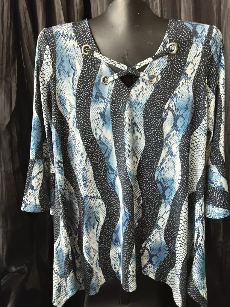 Printed Criss Cross V-NeckTunic with Grommets
