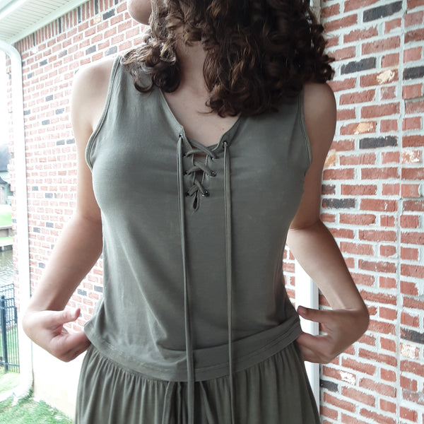 Knit Lace Up Tank