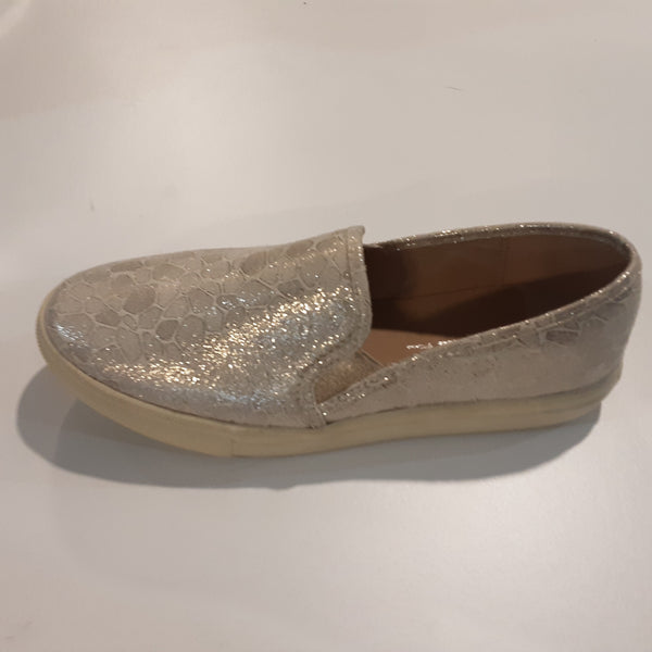 Shimmering Gold Slip On Shoe