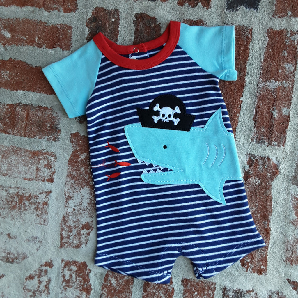 Pirate Shark Stripe One Piece with Raglan Sleeves