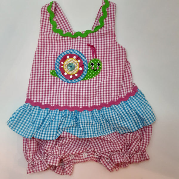 Gingham Print Appliqued Snail Bubble Suit
