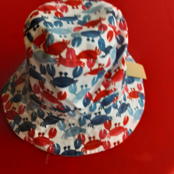 Reversible  Crab and Stripe Bucket Hat