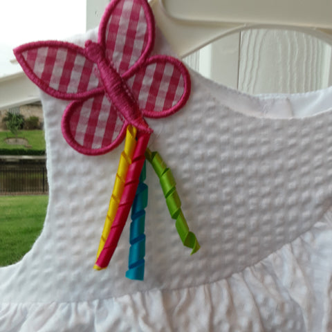 Gingham Appliqued Butterfly with multi colored streamers
