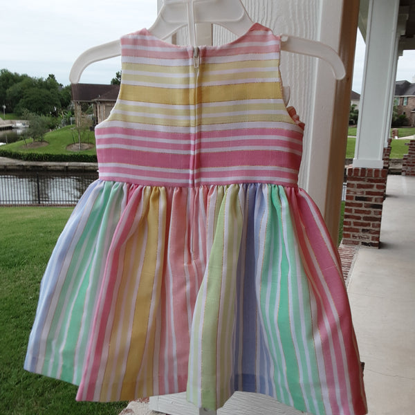 Pastel & Metallic Gold Stripe Dress with Laced Bow Detail & Matching Bloomers
