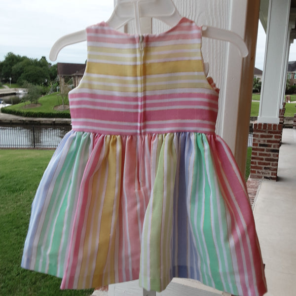 Pastel stripe dress with zip back.