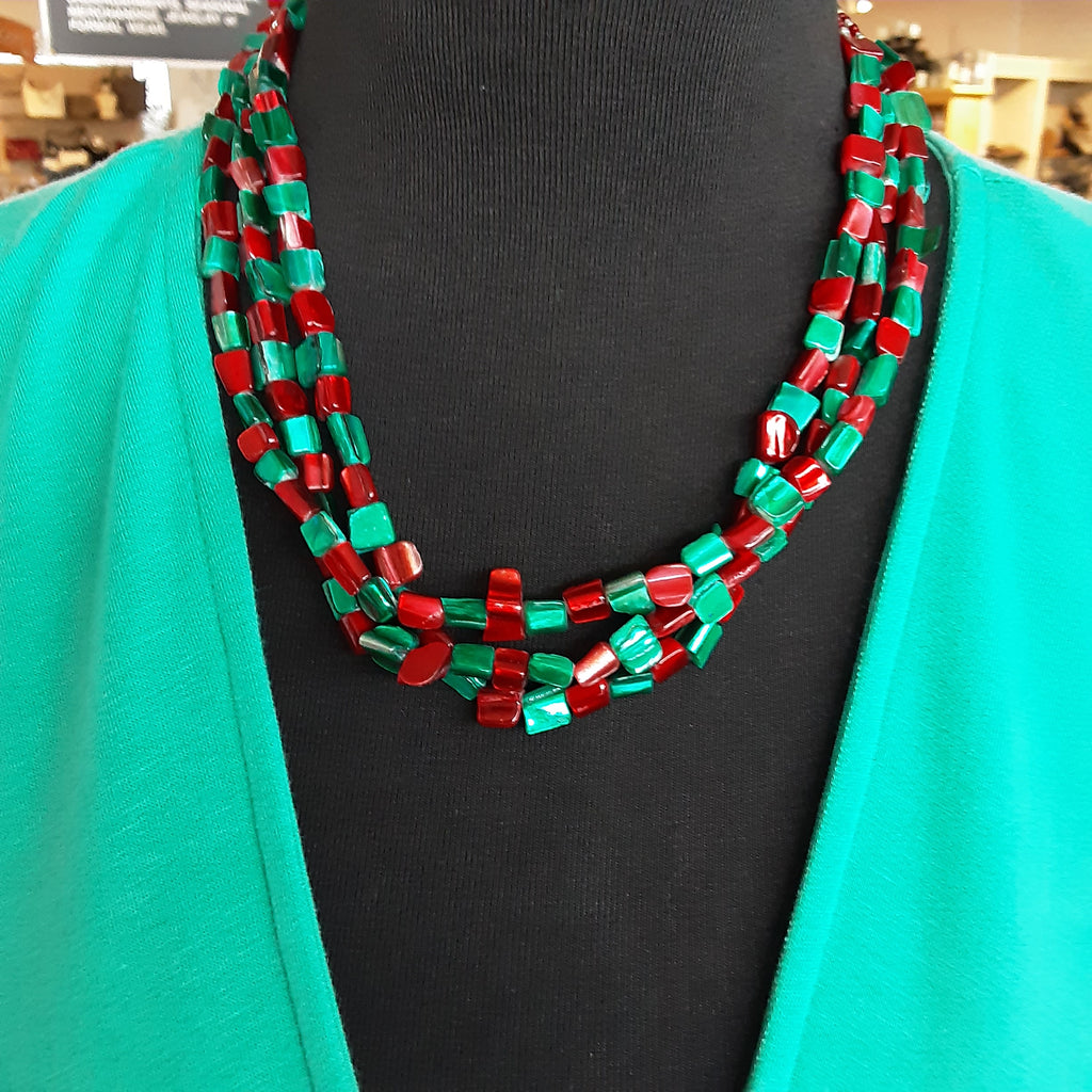 Short Red & Teal Necklace