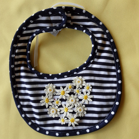Stripes and Daisy Bib