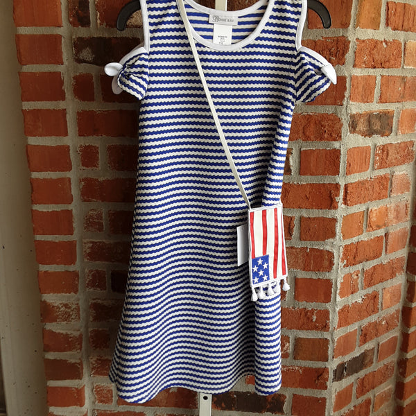 Striped Cold Shoulder Dress with Flag Coss Body Pouch