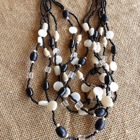 Neutral & Black Bead Necklace