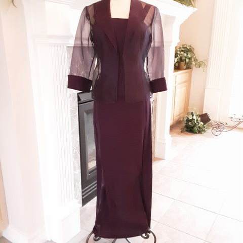 Shimmer Plum Dress with Sheer Jacket