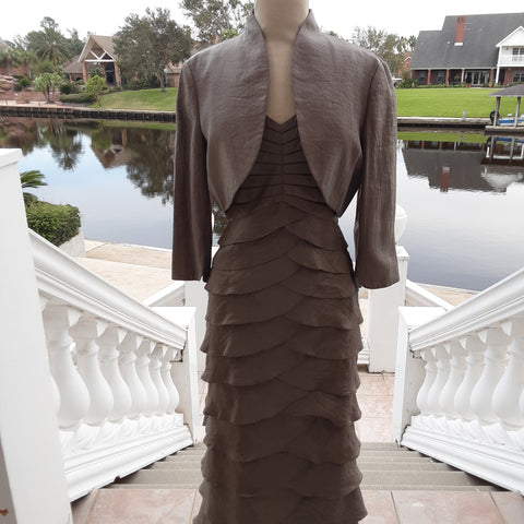 Taupe two piece layered dress with Bolero