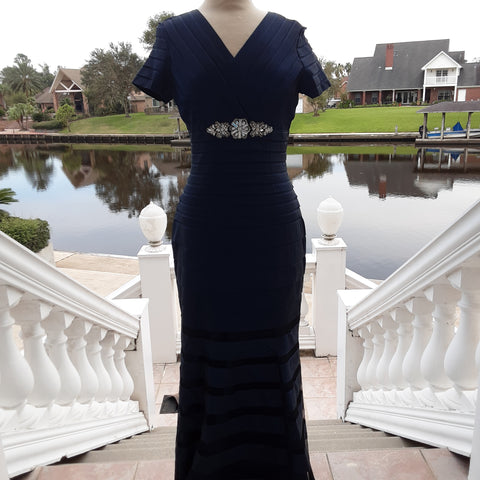 Navy Fitted Layered Formal