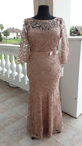Floor length Rose Gold Lace Dress