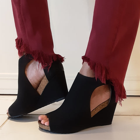 Corkys Peep Toe Black Wedges