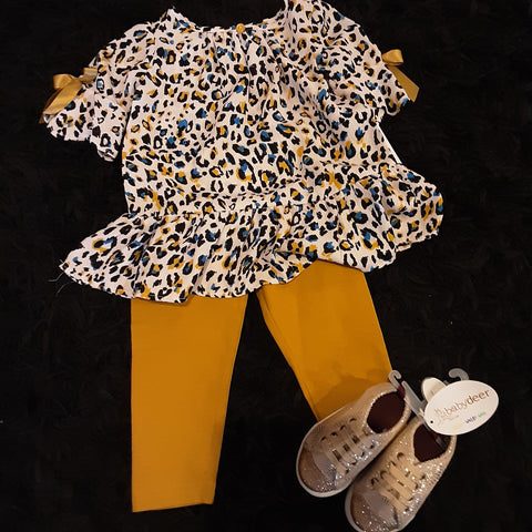 Leopard Tunic with Mustard Leggings Toddler