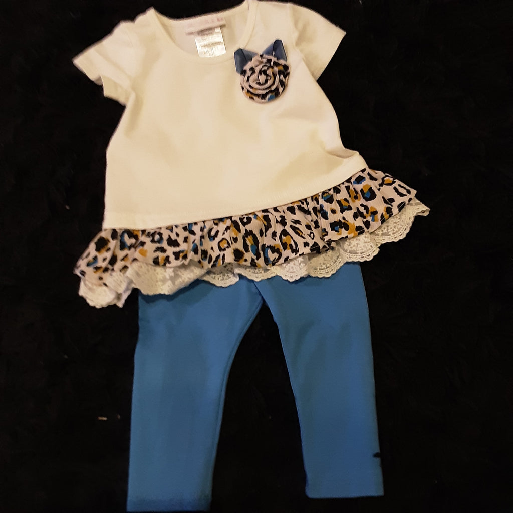 Leopard and Blue Tunic Legging Set