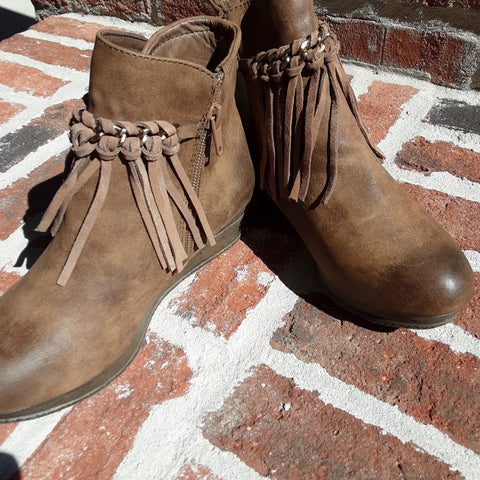 Fringe Top Wedge Booties